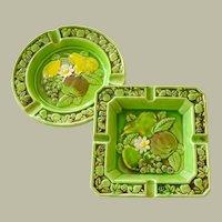 Vintage Pair Majolica Ashtrays Japan Bright Green