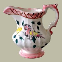 Hand Painted Creamer with Bird Hand Painted