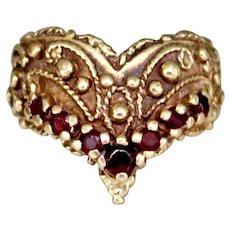Vintage 14k Gold Garnet Chevron Wide Band Ring
