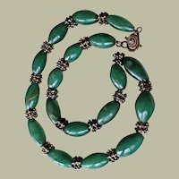 Old Necklace Green Agate Oval Beads on Chain