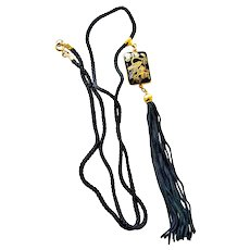 Necklace with Enamel Pendant with Birds Black Long Tassel