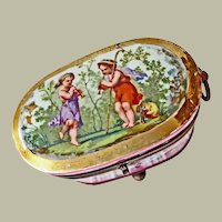 Antique French Porcelain Casket Box  Signed 1849 As Is