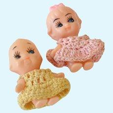 Pair Vintage Miniature Kewpie Dolls with Crochet Clothing