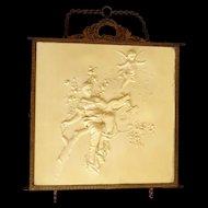 French Cherub and Maiden Celluloid Brass Tri-Fold Vanity Mirror