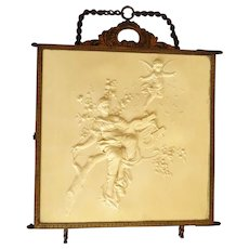 French Cherub and Maiden Celluloid Brass Tri-Fold Vanity Mirror