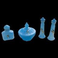 Rare Art Deco Vanity Perfume Powder Set Tiffin Glass Jungle Parrot - 4 pieces - Minty!