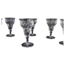 McKee Rock Crystal Cordial Depression Glasses - Lot of 6 - Mint