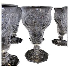 McKee Rock Crystal Footed Goblet or Wine - Set of 6