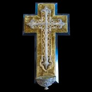 Large Antique Victorian Ornate Cross and Holy Water Font