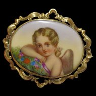Large Antique Victorian Hand Painted Cherub Cupid Brooch Pin