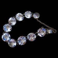 Gorgeous Japan Art Deco Large Round Faceted Rock Quart Crystal Sterling Bracelet Over 60 carats!