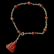 14k Gold Chinese Export Red Jade Carnelian Jasper Buddha Bracelet - Art Deco