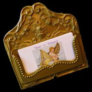 Vintage Brass or Bronze Card Holder with Florals
