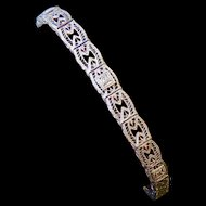 Antique 10k White Gold Filigree Diamond Bracelet - MINT - Signed and Patented!
