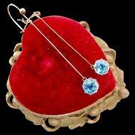 14k Gold Art Deco Blue Zircon Drop Earrings