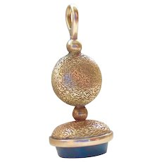 14k Gold Antique Bloodstone Agate Seal Charm or Pendant
