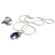 Sterling Silver Robert Lee Morris Retired Set - Pool of Light Pendant & Matching Ring - Quartz Rock Crystal
