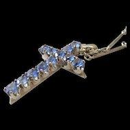 14k White Gold Art Deco Cornflower Blue Topaz Cross with original Fancy Bar Link Chain