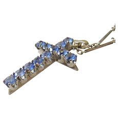 14k White Gold Art Deco Cornflower Blue Topaz Cross with original Fancy Bar Link Chain
