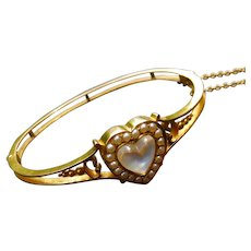 14k Gold Moonstone Heart and Seed Pearl Bracelet