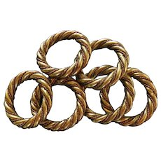 Set of 6 Braided Brass Copper Napkin Rings
