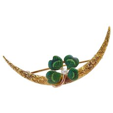 14k Gold Art Nouveau Repousse Crescent Moon and Enamel 4 Leaf Clover Shamrock Pin with Pearl