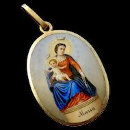 Rare Antique Large Georg Anton SCHEID G.A.S. Hand-Painted Two-Sided Enamel Religious Medal