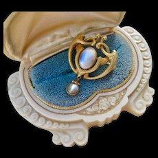 Gorgeous 14k Art Nouveau Moonstone Drop Pendant with Removable Pin!