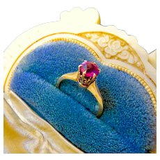 Antique 10k Gold Pink Sapphire or Ruby Solitaire Ring