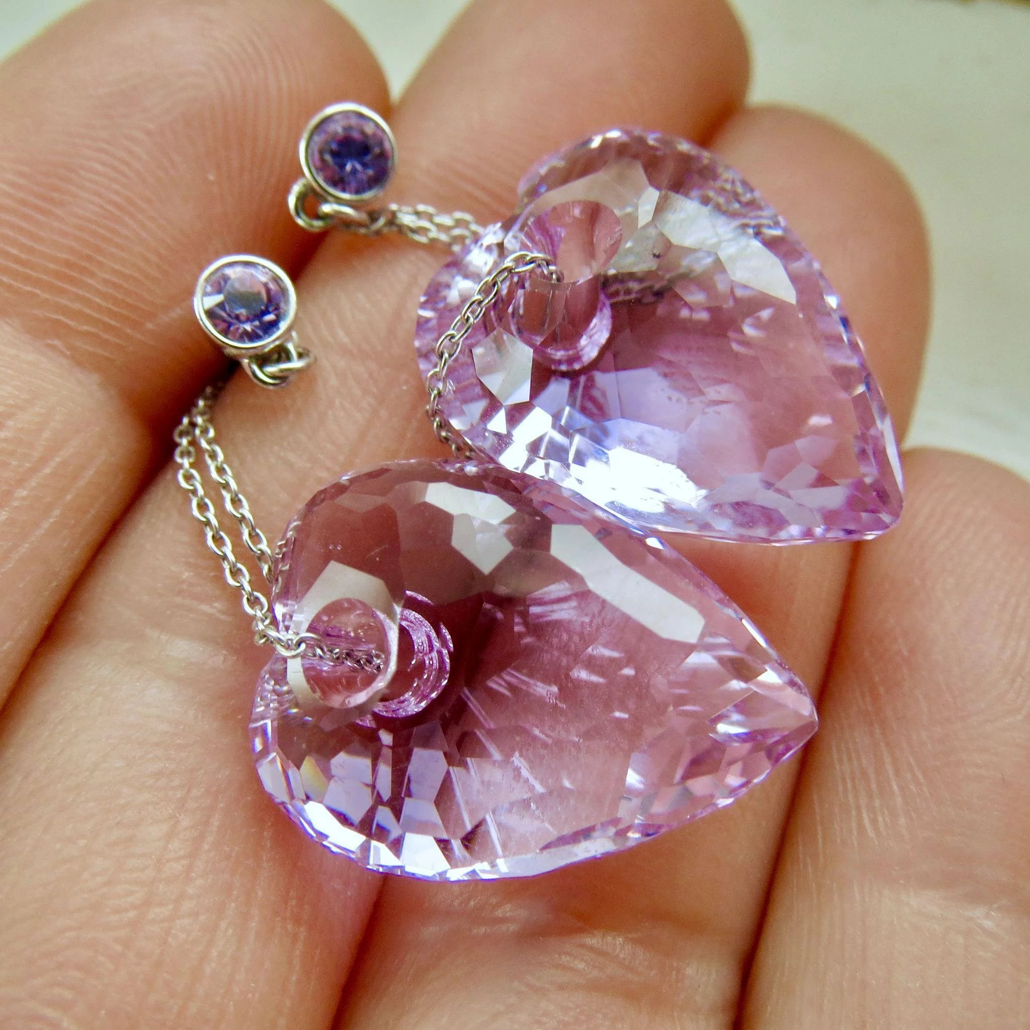 Retired Swarovski Amethyst Purple Crystal Drop Earrings Click To Expand