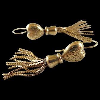 9ct Gold Heart Tassel Dangle Drop Earrings