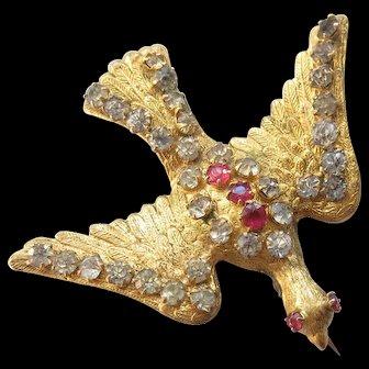 Antique French Paste 'Saint Esprit' Bird Swallow Converted Hat Pin