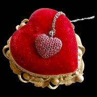 Nadri Designer Gunmetal Red Crystal Heart Necklace