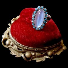 Sterling Art Nouveau Large Moonstone & Turquoise Paste Ring