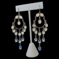 Long Dangling Sterling Chandelier Jelly Opal Art Glass Earrings