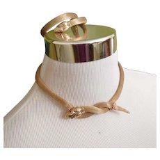 Rare Art Deco Gold Filled Mesh Snake Necklace and Bracelet Set