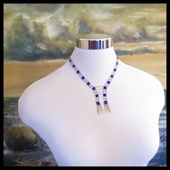 Antique 14k Gold Seed Pearl Tassel Necklace - Ladder Design