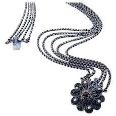 800 Silver Austro Hungarian Garnet Multi-Chain Necklace Bracelet