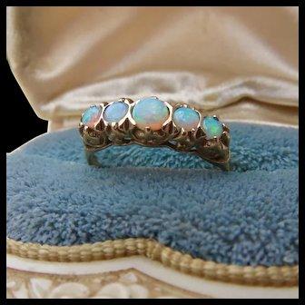 Fine 50s  9ct Gold Fancy Opal Filigree Ring
