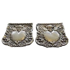 Rare Antique Unger Brothers Sterling Silver Lingerie or Suspender Clips