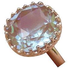 Fabulous 10k Rose Gold Large Saphiret Ring