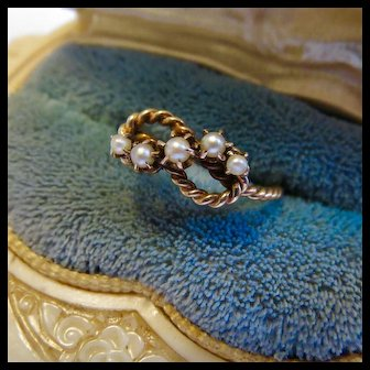 Antique 10k Gold Seed Pearl Lovers Knot Sweetheart Ring