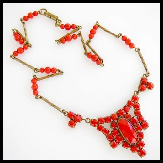 Blood Red Glass Czech (Signed) Necklace