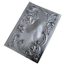 Art Nouveau Silver Plated Cherub Power Paper Vanity Case