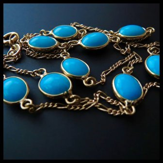 18k Gold Italian Turquoise Station Necklace