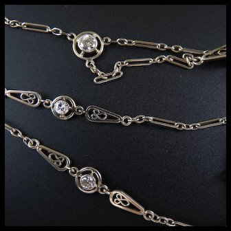 Outstanding 14k Fancy White Gold Diamond Pearl Ladies Lorgnette Chain or Watch Chain