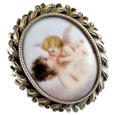 Large Antique Sterling Framed Portrait Porcelain Brooch 'Love's Dream' - Cupid Cherub