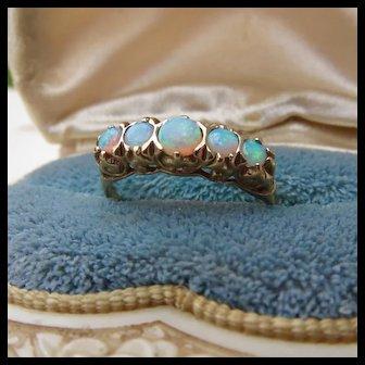 9CT Gold Fancy Opal Filigree Ring