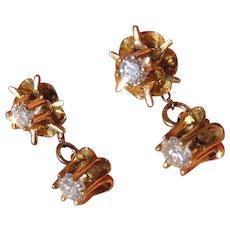 Antique 14k Gold Diamond Drop Day Night Earrings Buttercup Setting