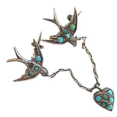 Rare Antique Sterling Pave Turquoise Sweetheart Swallow and Heart Brooch